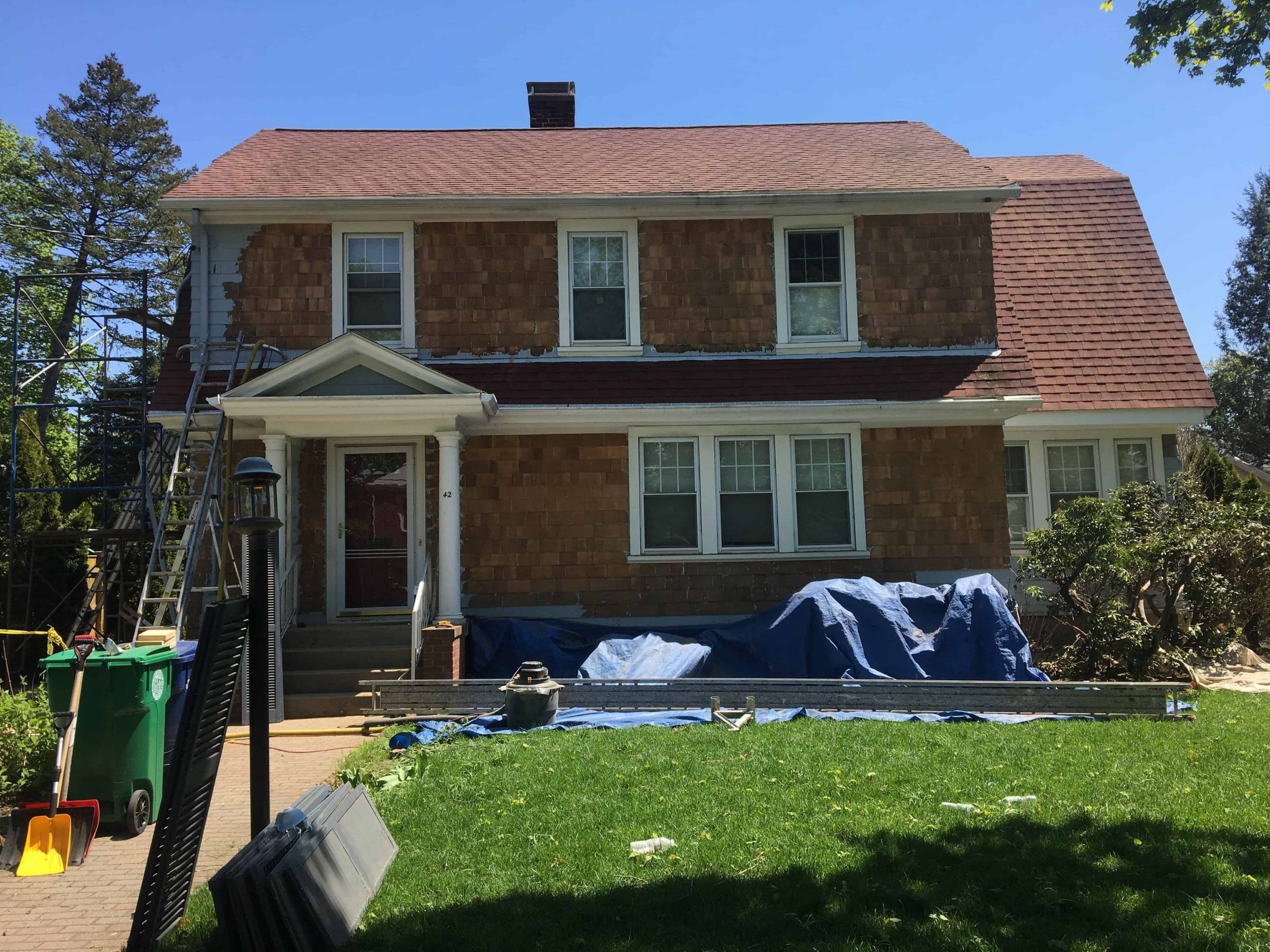 cedar shingle exterior paint removal project